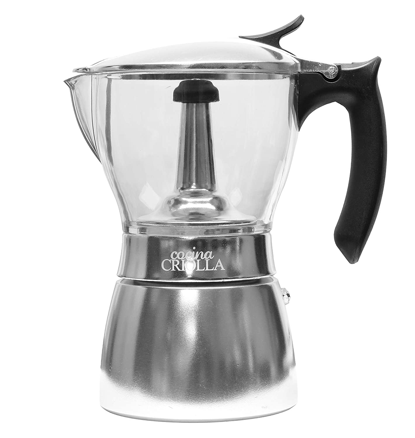 Clear-Top Stovetop Espresso Maker Pot | 6 cup | Coffee Maker with Durable Food-Grade Aluminum Bottom | Greca | Cafetera Transparente.