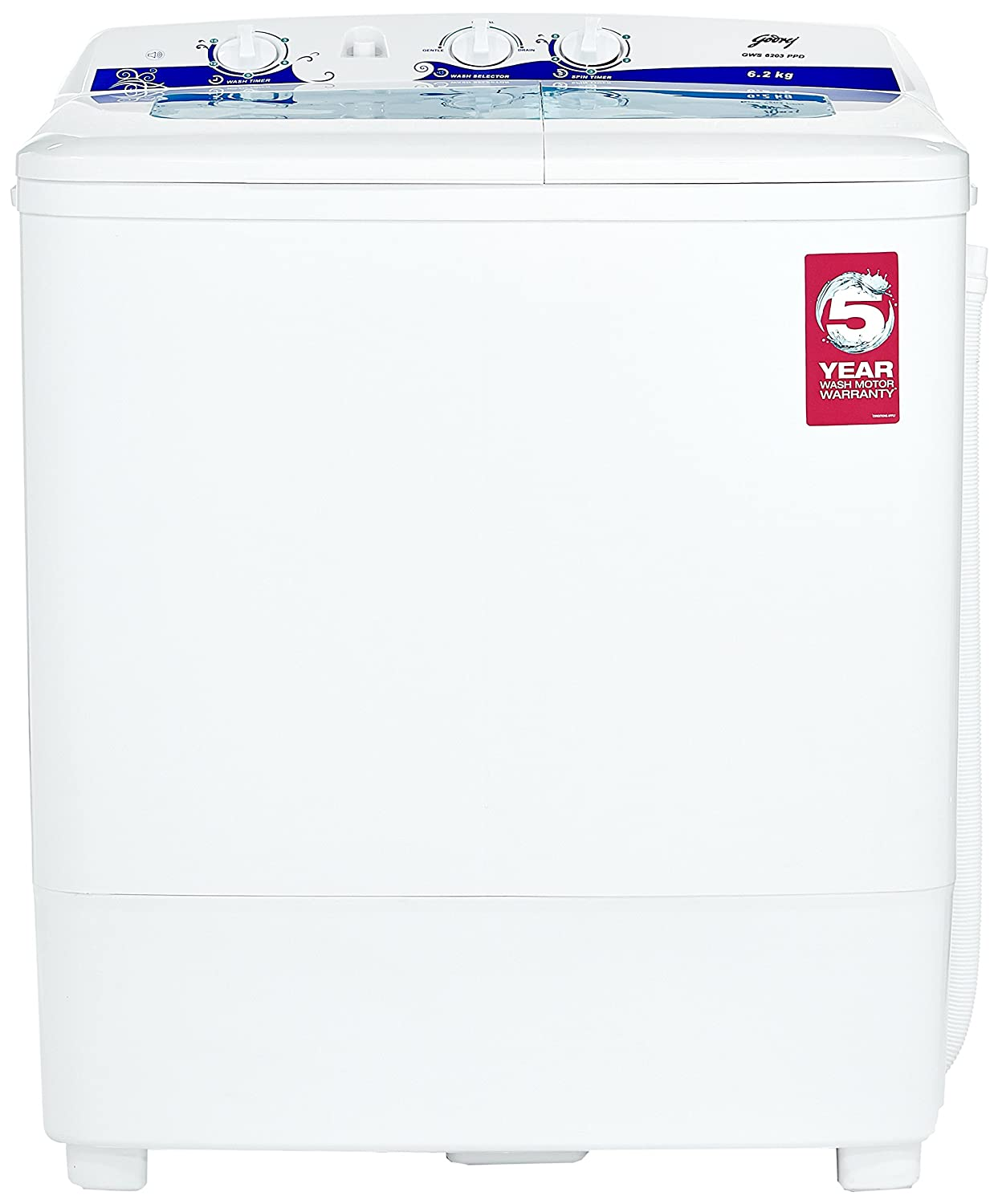 Godrej 62 Kg Semi Automatic Top Loading Washing Machine Gws 6203 Fully Wiring Diagram Ppd White And Blue Home Kitchen