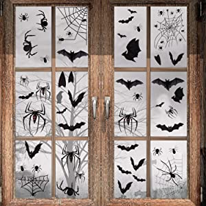 Halloween Decorations - 113 PCS Halloween Black Spider Bat Window Cling, Spooky Halloween Stickers Decals for Halloween Party Decorations (4 Sheets)
