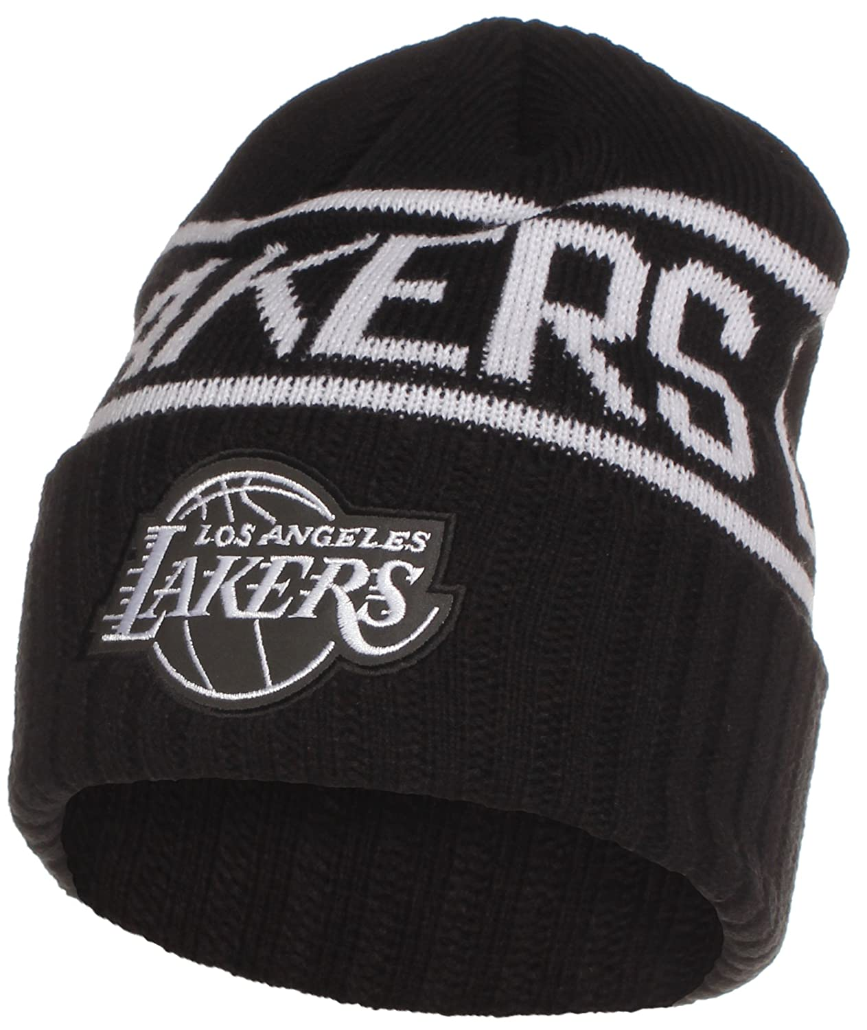 a3907a313 Los Angeles Lakers Mitchell & Ness Black White Knit Winter Beanie ...