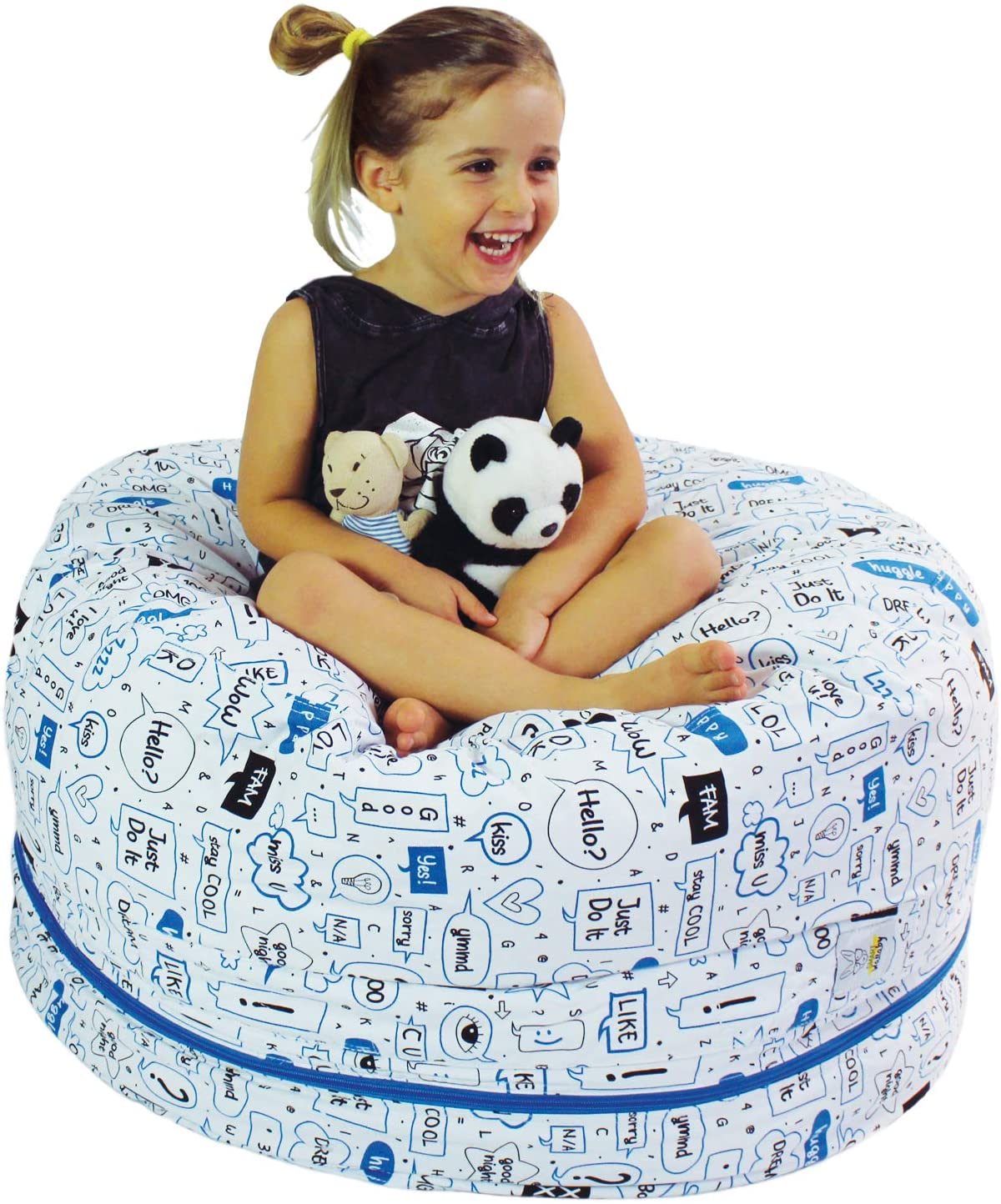 "2 Sizes in 1 Large Bean bag Stuffed Animal Storage | XL Jumbo Ottoman for Soft Toys, Plush Toys | Giant Pouf Organizer for Linens, Quilts, Pillows | 300 L. / 80 Gal. | 42"" (Talk to Me)"