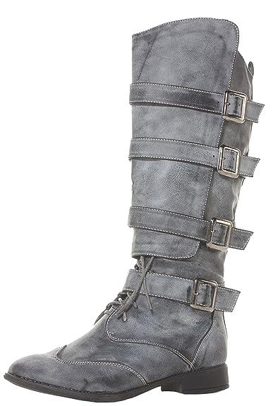 0df5540928de Womens Grey Wide Calf Leg Ladies Riding Style Flat Low Heel Biker Style  Knee High Boots