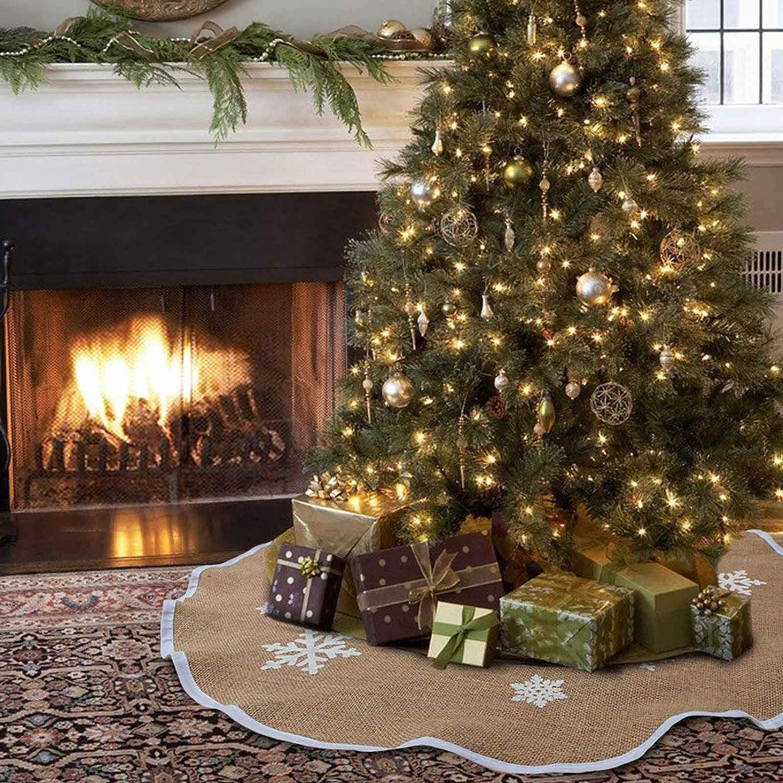 Amazon Com Aytai Christmas Tree Skirt 48 Inch Rustic Tree Skirts White Snowflake Printed Christmas Decorations Indoor Outdoor Home Kitchen