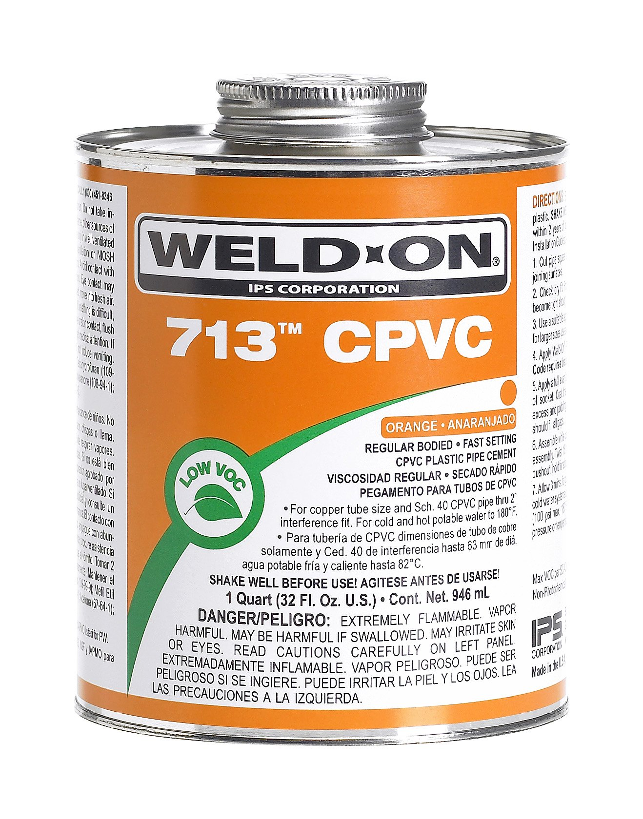 Weld-On 10126 Orange 713 Regular-Bodied CPVC Professional Industrial-Grade Cement, Fast-Setting, Low-VOC, 1 quart Can with Applicator Cap