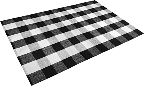 Satbuy Black and White Buffalo Plaid Rug Living Room Bedroom Area Rug