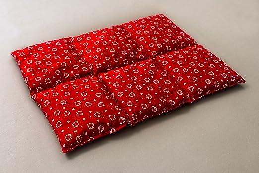 Cojín térmico de semillas (Calor y frio) | Saco térmico para microondas … (40x30 rojo con corazones con 6 compartimientos, semillas de lino)