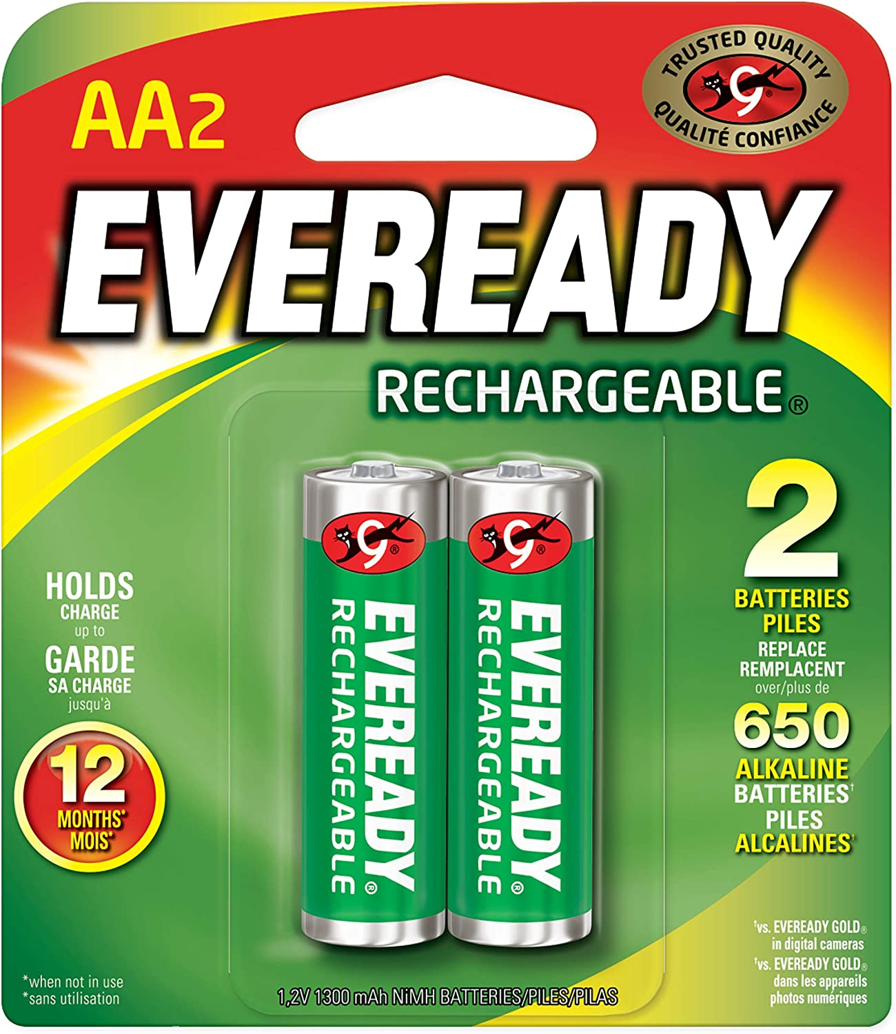 2 Count AA NiMH Batteries Eveready RE15BP-2 Rechargeable 2000 mAh