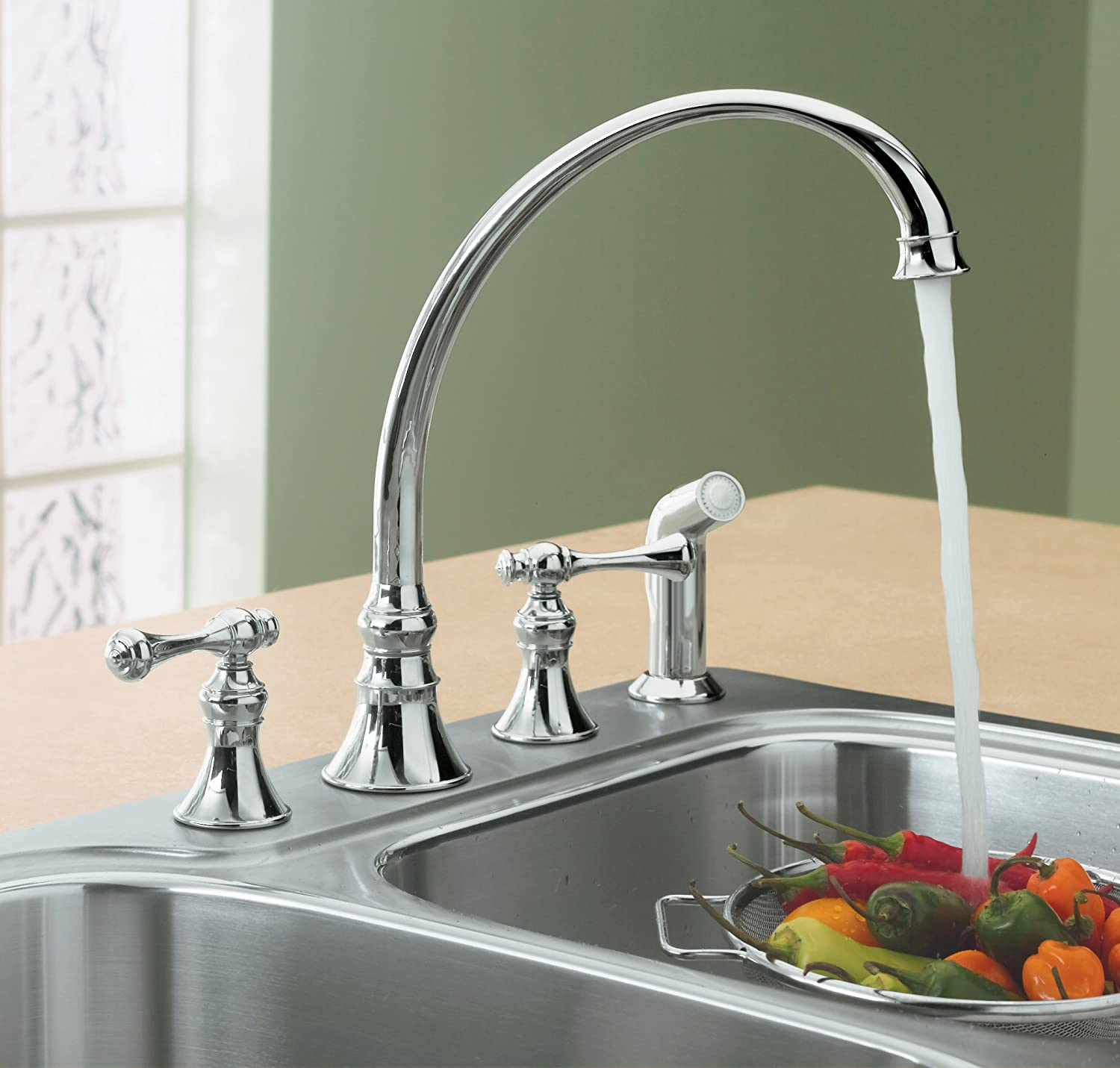 KOHLER K 4A CP Revival Kitchen Sink Faucet Polished Chrome