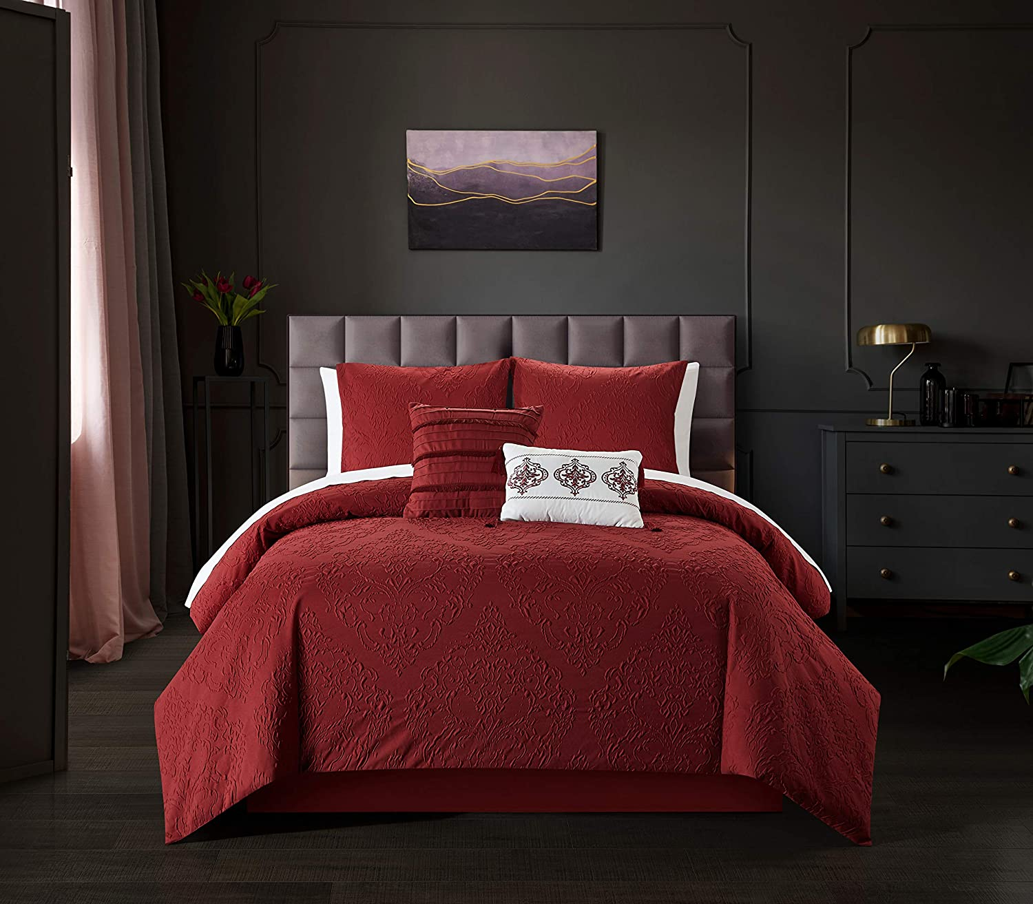 Chic Home Mayflower 5 Piece Comforter Set Embossed Medallion Scroll Pattern Design Bedding - Decorative Pillows Shams Included, Queen, Brick, Brick red