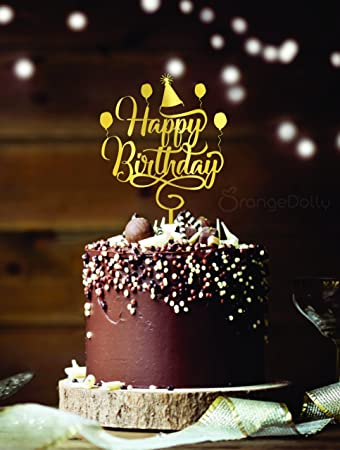 Awesome Happy Birthday Cake Topper Gold Mirror Acrylic Monogram Birthday Funny Birthday Cards Online Inifodamsfinfo