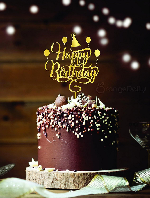 Happyappy Birthday Cake Topper Glitter Gold Acrylic Monogram