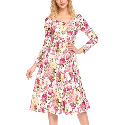 ACEVOG Women's Floral Printed Dress V Neck Casual Long Sleeve MIdi Dress at Amazon Women's Clothing store
