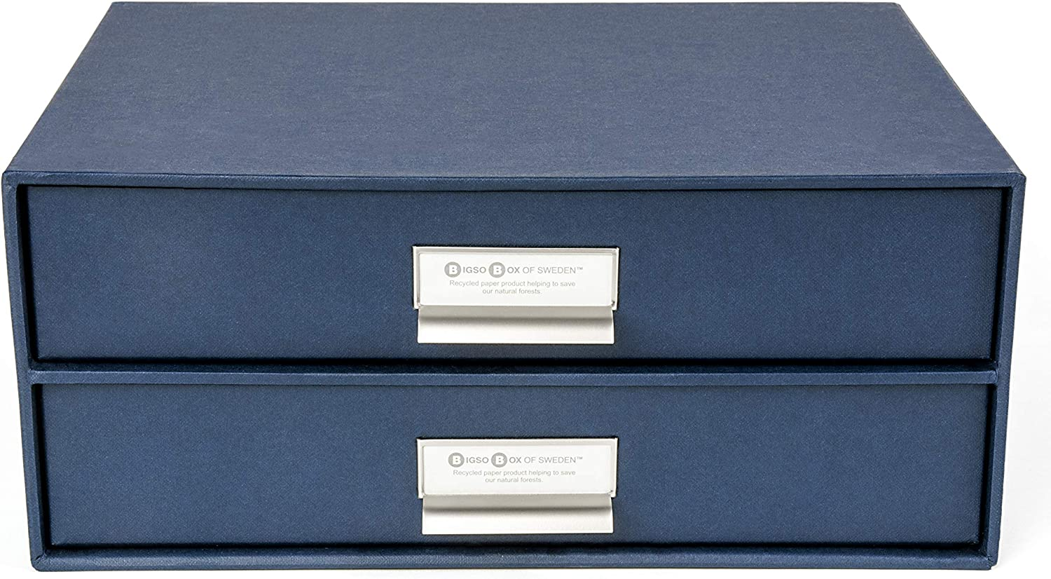 5.7 x 13 x 9.8 in Blue Bigso Birger 2-Drawer Canvas Fiberboard Easy Pull Handle Document Letter Box