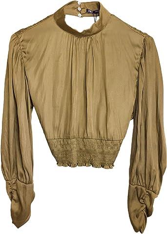 Zara 7484/164/505 Blusa para Mujer con Detalle de Escote Trasero - Verde - Large: Amazon.es: Ropa y accesorios