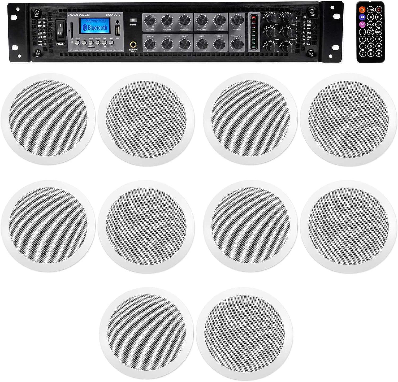 6-Zone Home Audio System+10) White Ceiling Speakers Bedroom/Living Room/Bathroom
