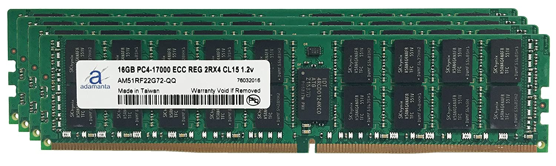 Adamanta 64 GB ( 4 x 16gb )サーバーメモリアップグレードfor HP ProLiant dl60 g9 ddr4 2133 MHz pc4 – 17000 ECC Registeredチップ2rx4 cl15 1.2 V RAM B019YIBV9W