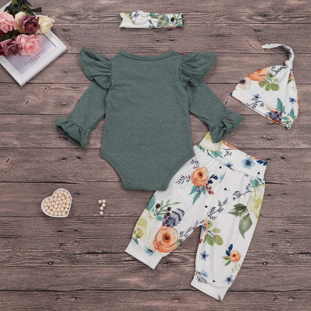 Jchen for Your Little Princess Romper Sets Baby Infant Girl Solid Color Ruched Romper Floral Pants Headband Hat Outfits TM
