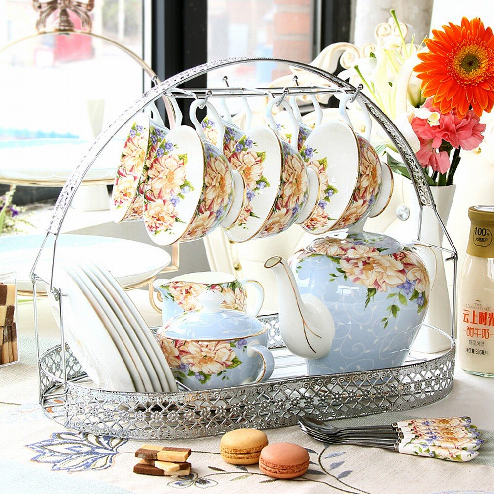 DHG Coffee Cup Set Afternoon Tea Set Continental Tea Set Coffee Bone China Type Saucer Home Teapot Married,A by DHG
