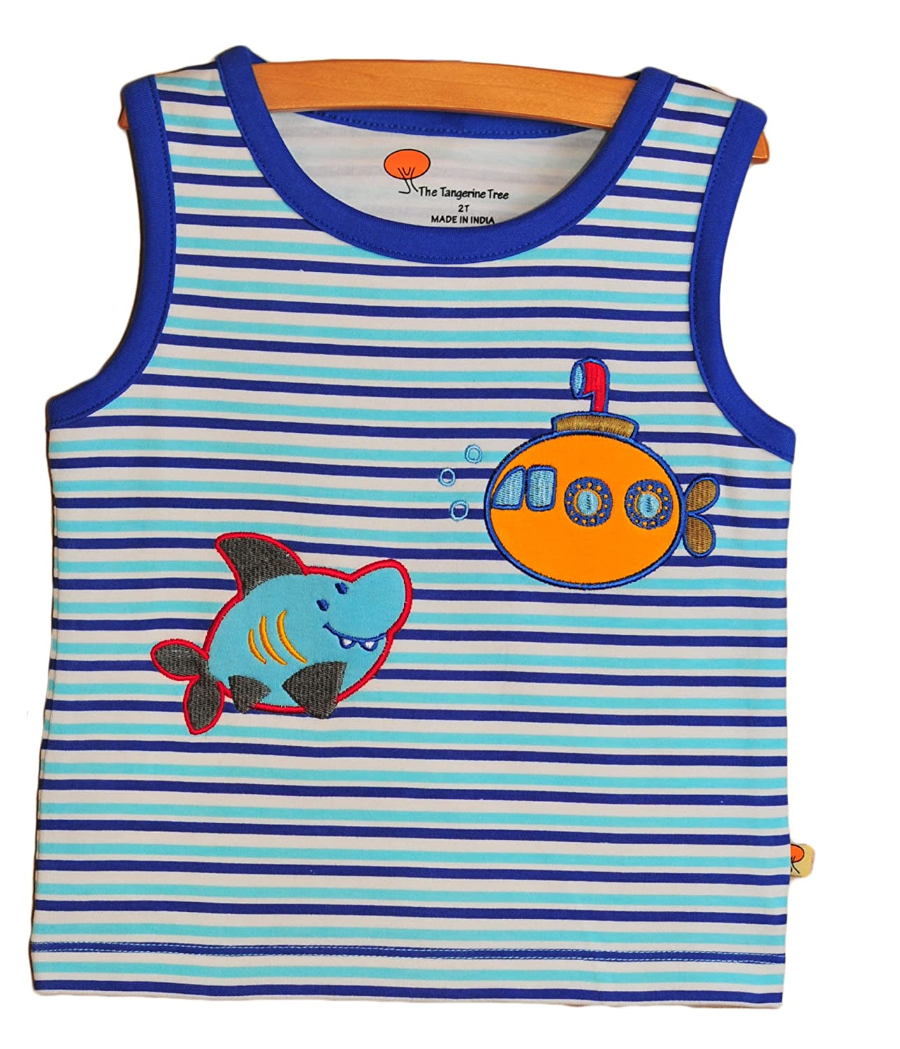 Blue and White Stripes Tangerine Tree Boys Tank Top