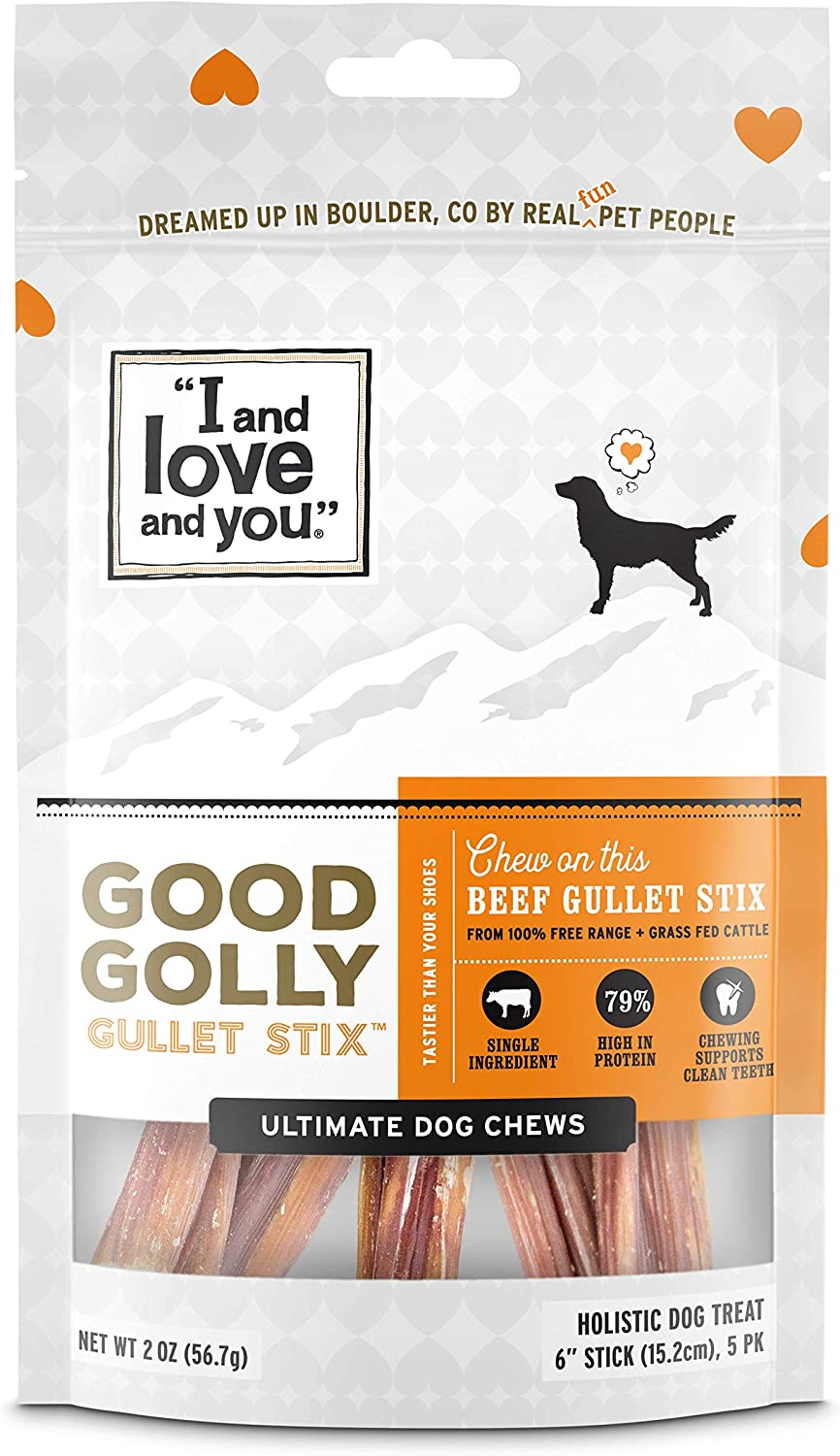 I and love and you Good Golly Beef Gullet Sticks - Grain Free Dog Chews, 100% Beef Gullet, 5 Pack of 6-Inch Sticks