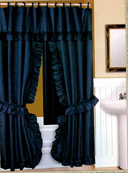 Amazon DOUBLE SWAG FABRIC SHOWER CURTAIN LINER RINGS DOBBY DOT DESIGN NAVY BLUE Everything Else