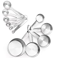 12 Measuring Cups and Measuring Spoons in 18/8 Stainless Steel in American & Metric Measurements from Maison Maison. For Cooking, Baking, Liquid and Dry Ingredients!