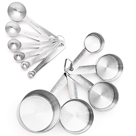 12 Measuring Cups and Measuring Spoons in 18/8 Stainless Steel in American  & Metric Measurements from Maison Maison. For Cooking, Baking, Liquid and  ...