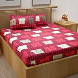 Story@Home Candy Gold Collection 120 TC Cotton Printed Pattern 1 Double Bedsheet and 2 Pillow Cover - Squares, Maroon & Pink