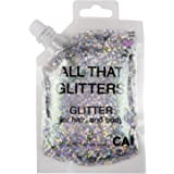 CAI BEAUTY NYC Silver Glitter | Easy to Apply, Easy to Remove Chunky Glitter for Body, Face and Hair | Bag Pouch | Holographi