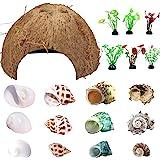 Hermit Crab Shells Natural Coconut Shell Hut Artificial Plants Decoration supplies19 PCS House Tank