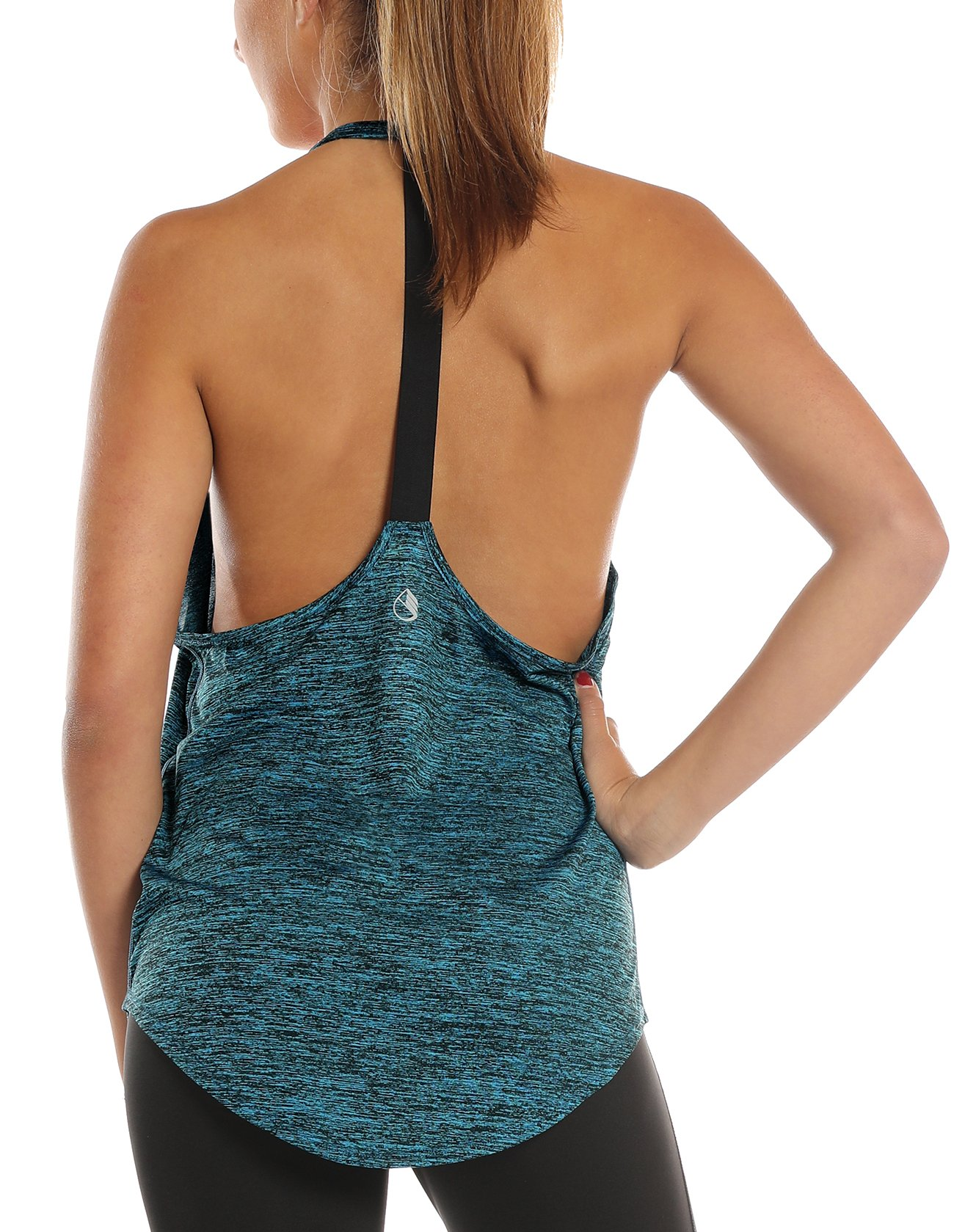 icyzone Workout Tank Tops for Women - Athletic Yoga Tops, T-Back Running Tank Top (M, Royal Blue)