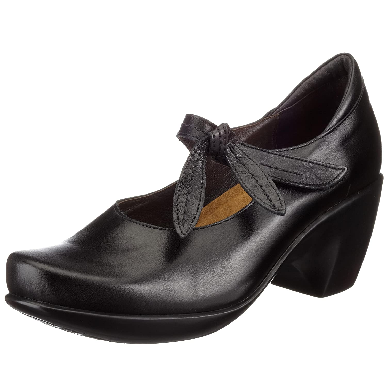 Midnight Black Leather Naot Women's Pleasure Leather Mary Jane shoes