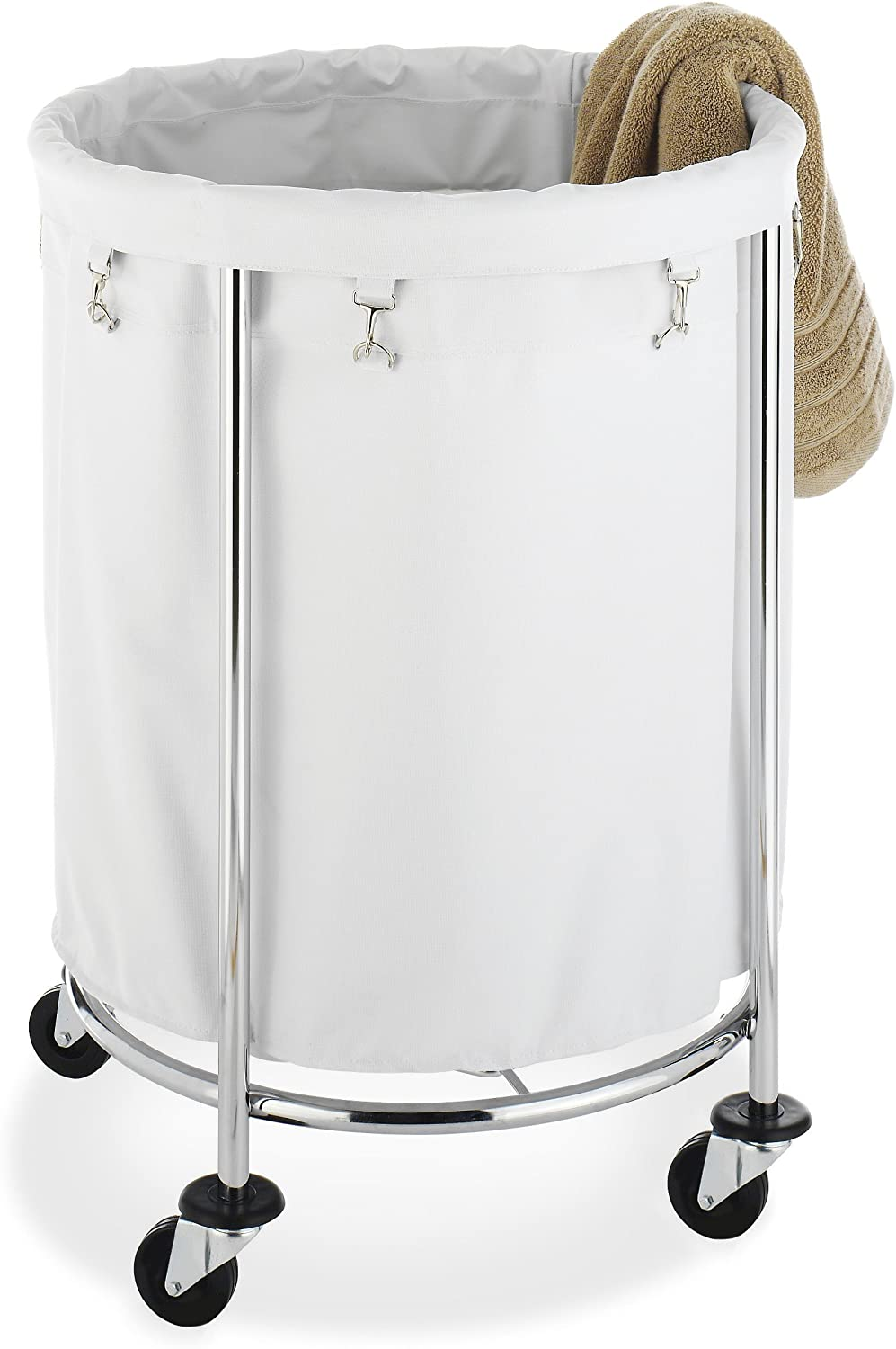 Whitmor Round Commercial Removable Liner and Heavy Duty Wheels-Chrome Laundry Hamper, Silver and White