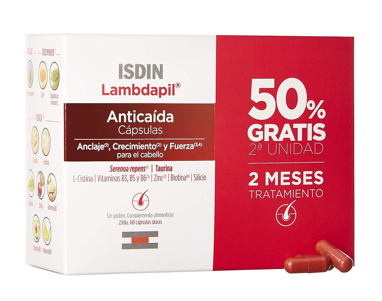 ISDIN Lambdapil Cápsulas Anticaída del Cabello, 120 Cápsulas (Pack 60+60), 50% Gratis, Fortalece el Cabello y Reduce la Caída del Mismo, 2 Meses ...
