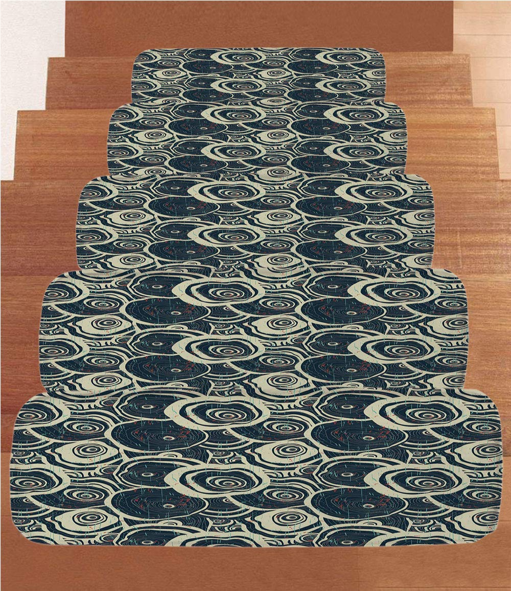 iPrint Non-Slip Carpets Stair Treads,Grunge,Wood Pattern Nature Inspirations Circles of a Tree Abstract Style Decorative,Dark Blue Pale Reseda Green,(Set of 5) 8.6''x27.5'' by iPrint (Image #1)