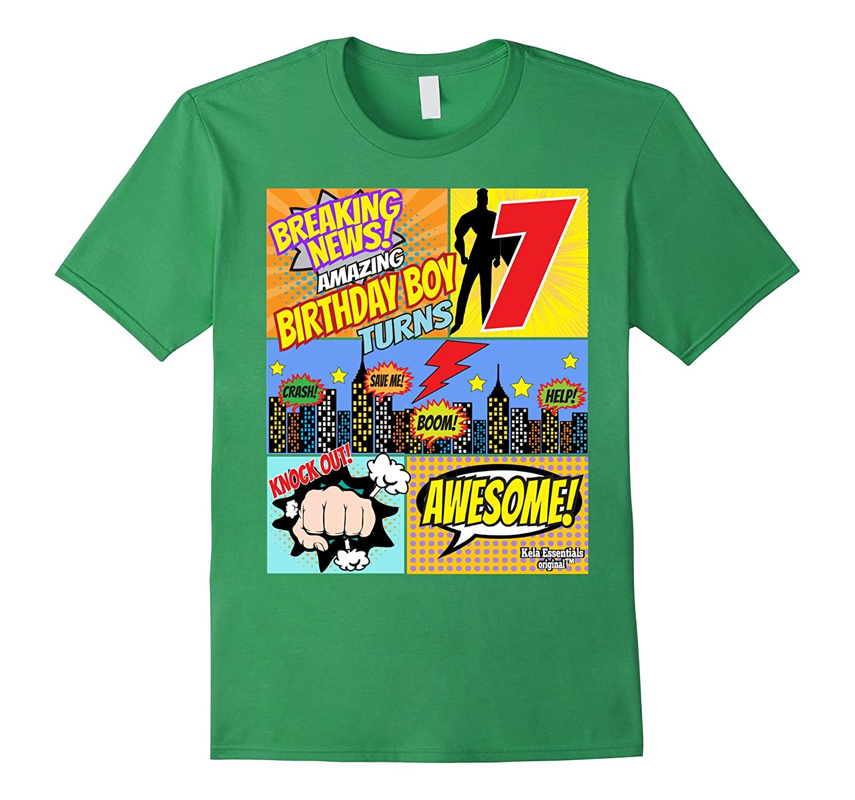 Superhero Birthday Shirt Boys 7 Amazing Awesome Super TD
