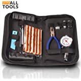 Heavy Duty Tire Repair Kit with Quality Tire Pressure Gauge for Car, Motorcycle, ATV, SUV, Truck. Flat Tire Plug Kit, Puncture Repair Patch Kit - by AllTools