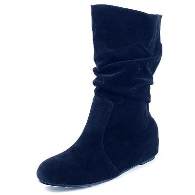 AgeeMi Shoes Femmes Bottines Compensées Slouchy Suède Plier Classiques Hiver Boots