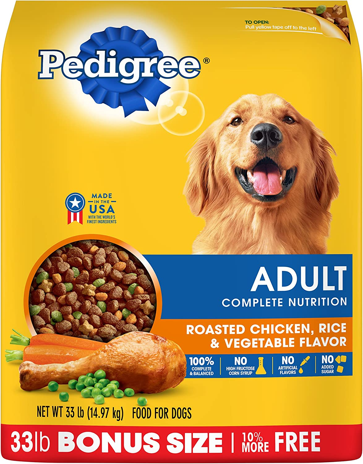Pedigree Adult Dry Dog Food – Roasted Chicken, Rice Vegetable Flavor
