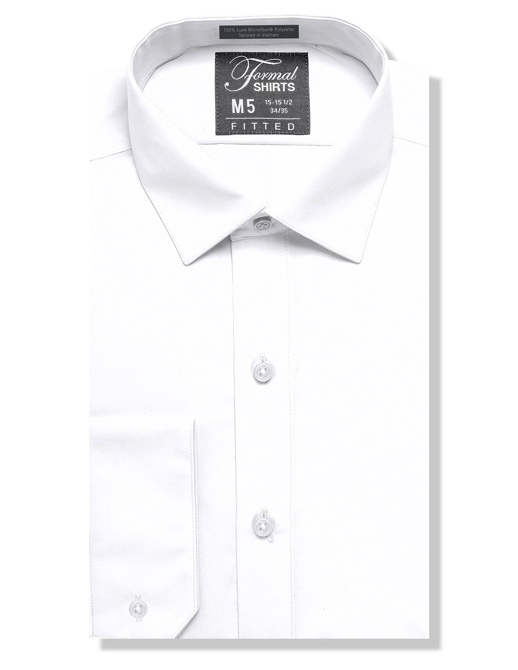 Formal Shirts Fitted Mens Solid Color Dress Shirt or Tuxedo Shirt, 100 Percent  Luxe Microfiber, Spread Collar White 15-15.5'' Neck 38-39'' Sleeve