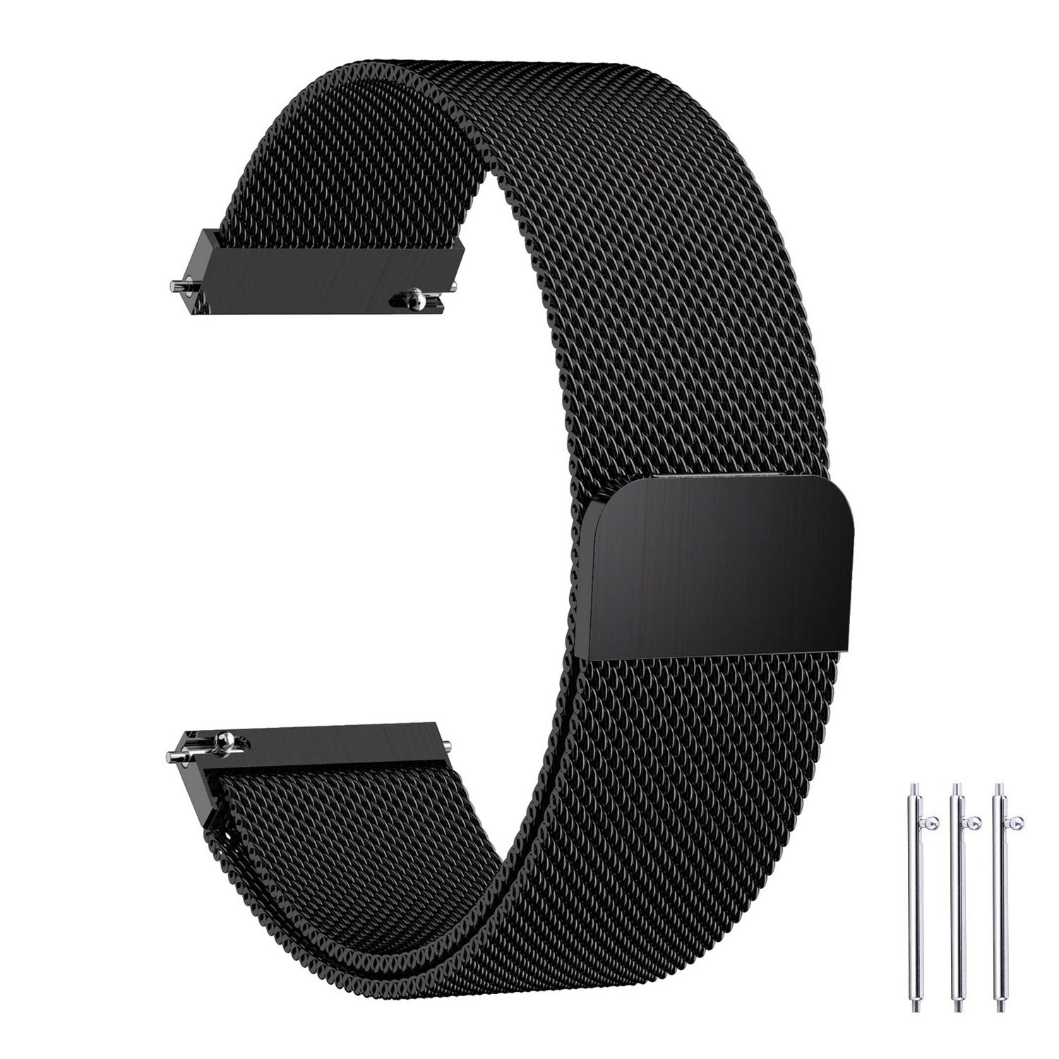 Fullmosa Compatible Samsung Gear S2 Classic Watch Band, 7 Colors 20mm Milanese Bracelet Watch Strap with Quick Release Pins Compatible Huawei Watch 2 /Moto 360 2nd Gen,Black
