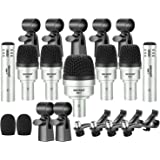 Neewer 7 Piece Wired Dynamic Drum Mic Kit - Kick Bass, Tom/Snare & Cymbals Microphone Set - for Drums, Vocal, Other…
