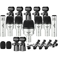 Neewer 7 Piece Wired Dynamic Drum Mic Kit - Kick Bass, Tom/Snare & Cymbals Microphone Set - for Drums, Vocal, & Other…