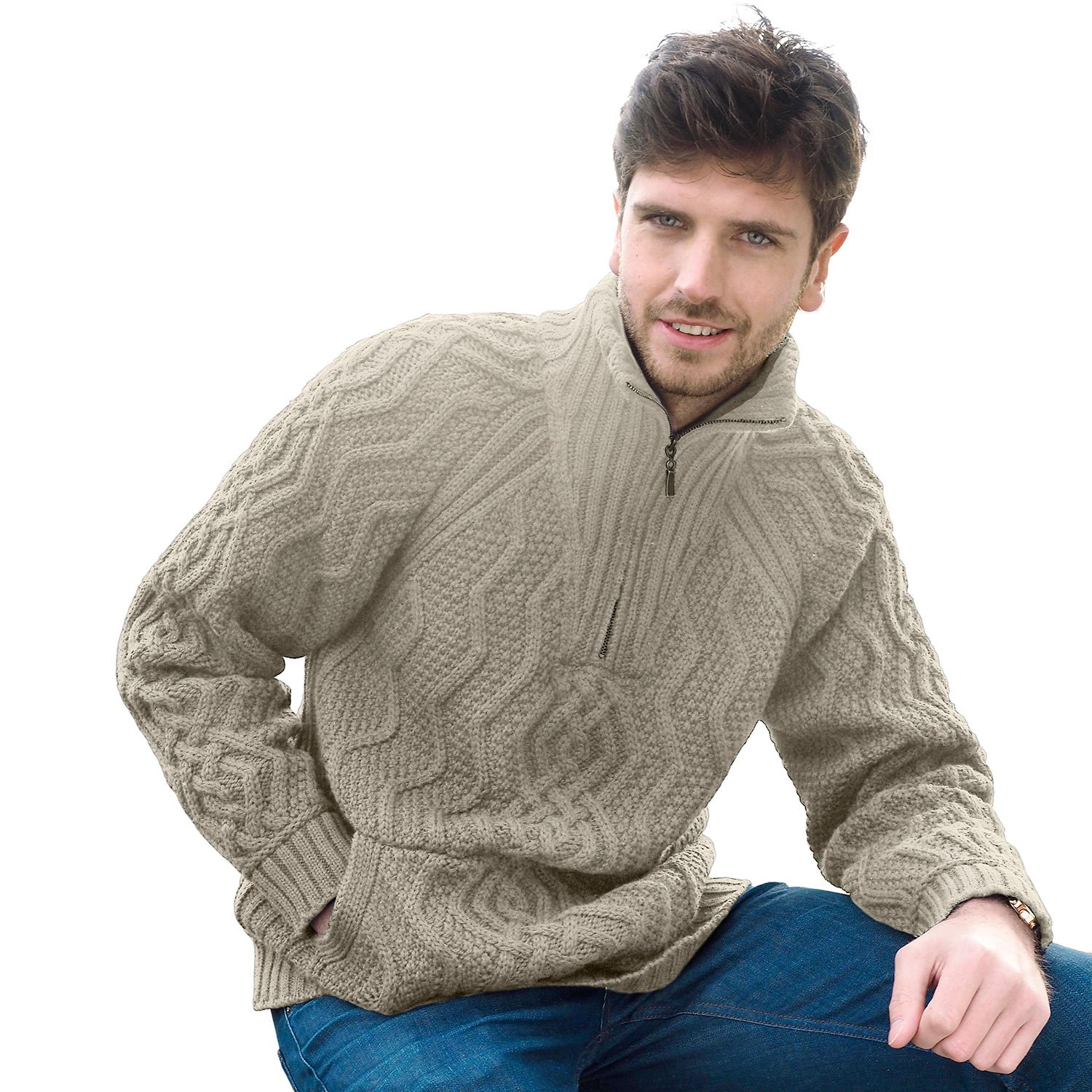 Men's Irish Aran Sweater with Kangaroo Style Pocket & Half Front Zip from West End Knitwear