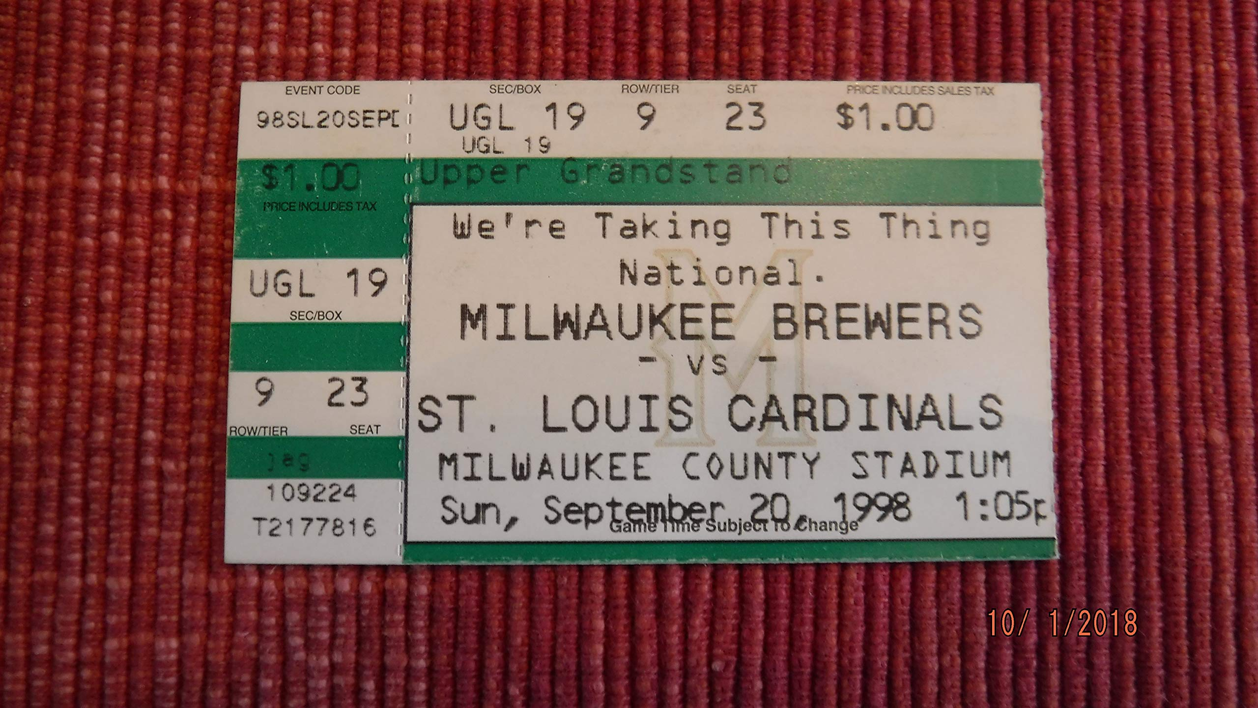 MARK McGWIRE Home Run #65 Ticket Stub (Sept. 20, 1998)