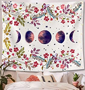 Lifeel Moonlit Garden Tapestry, Moon Phase Surrounded by Vines and Flowers White Wall Decor Tapestry 60×80 inches