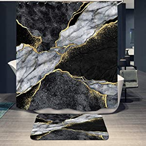 Black Grey & Gold Texture Marble Shower Curtain Set and Non-Slip Mat Rugs for Bathroom Abstract Art Marble Bath Curtain Decor with 12 Hooks (72