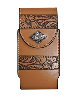 first rate 5567a bd714 Western Cowboy Leather Smartphone Phone Holder Holster Basketweave/Flower  Pattern Tooled … (Rhombic-Prayer-Khaki-L-Clip, L-3.5''x7'')