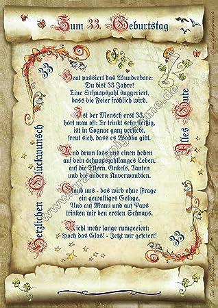 33 Geburtstag Geschenk Urkunde Mit Gedicht Amazonde