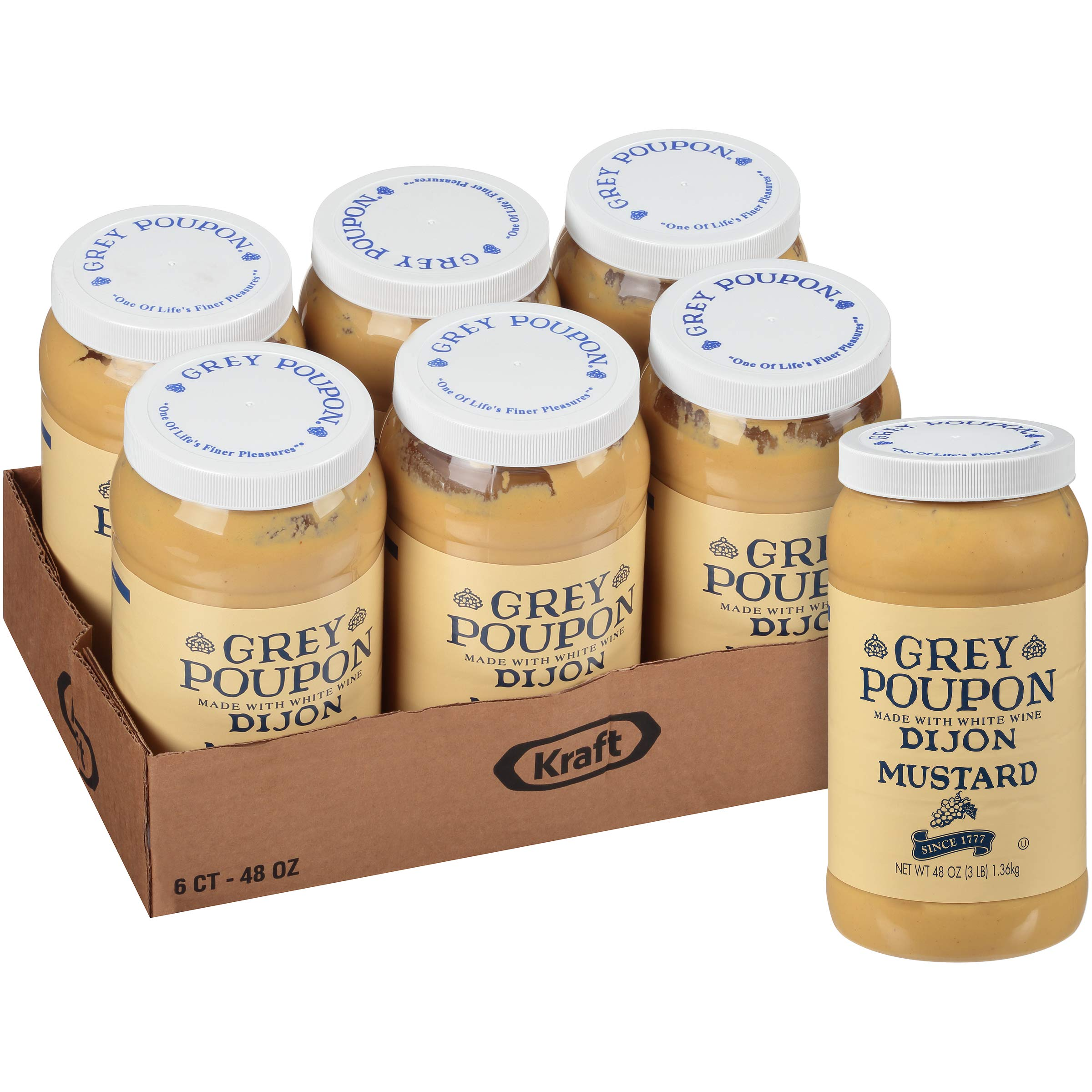 Grey Poupon Dijon Mustard, 48.0 oz Jar (Pack of 6)